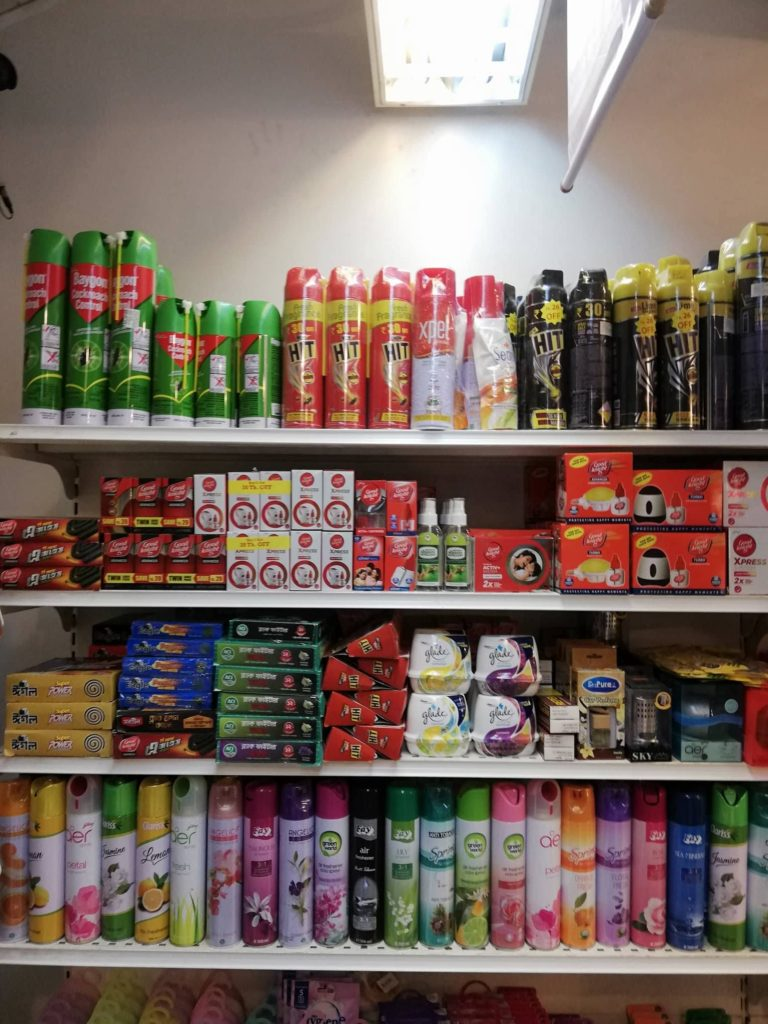 A local super shop selling different Mosquito repellents.