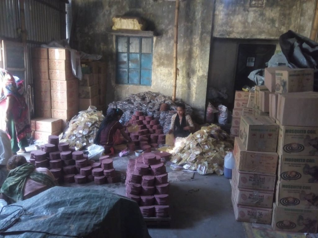 A local mosquito coil manufacturing factory.